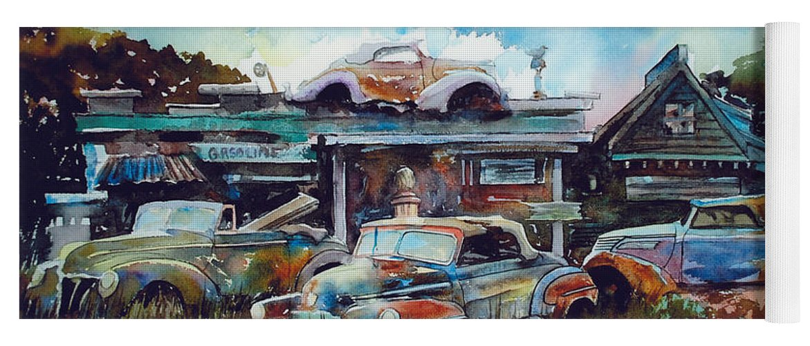 Fords Yoga Mat featuring the painting Lytton Station by Ron Morrison