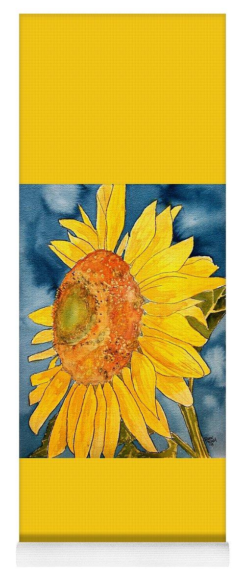 Sunflower Yoga Mat featuring the painting Macro Sunflower Art by Derek Mccrea