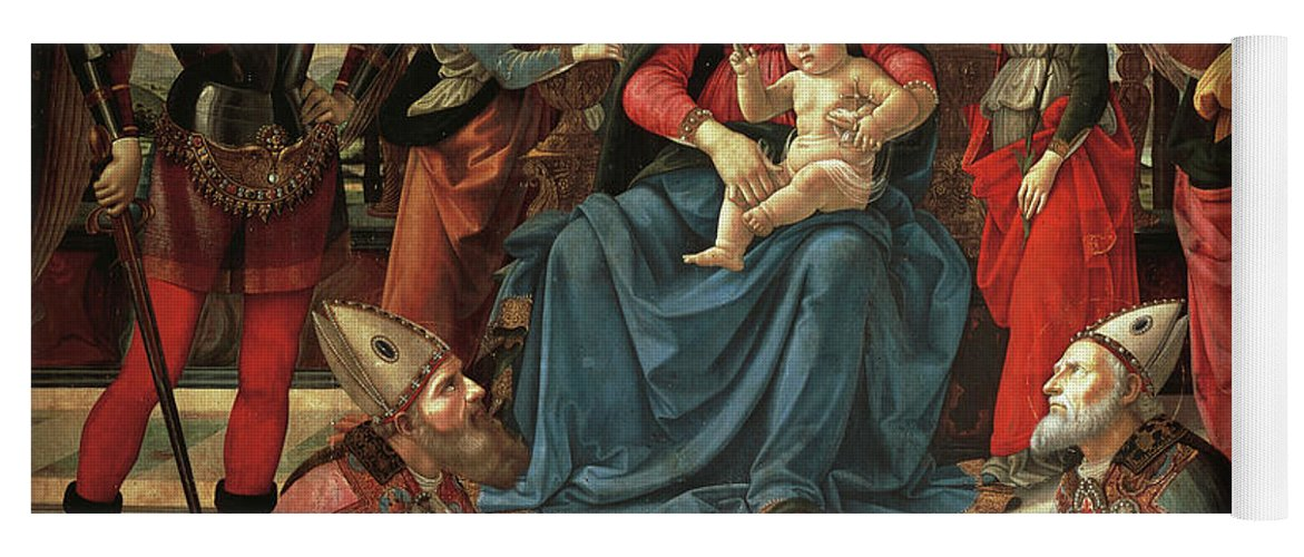 Ghirlandaio Yoga Mat featuring the painting Madonna And Child Enthroned With Saints by Domenico Ghirlandaio