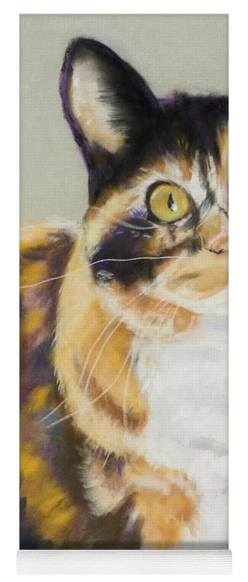 Calico Yoga Mat featuring the painting Maggie Mae by Pat Saunders-White