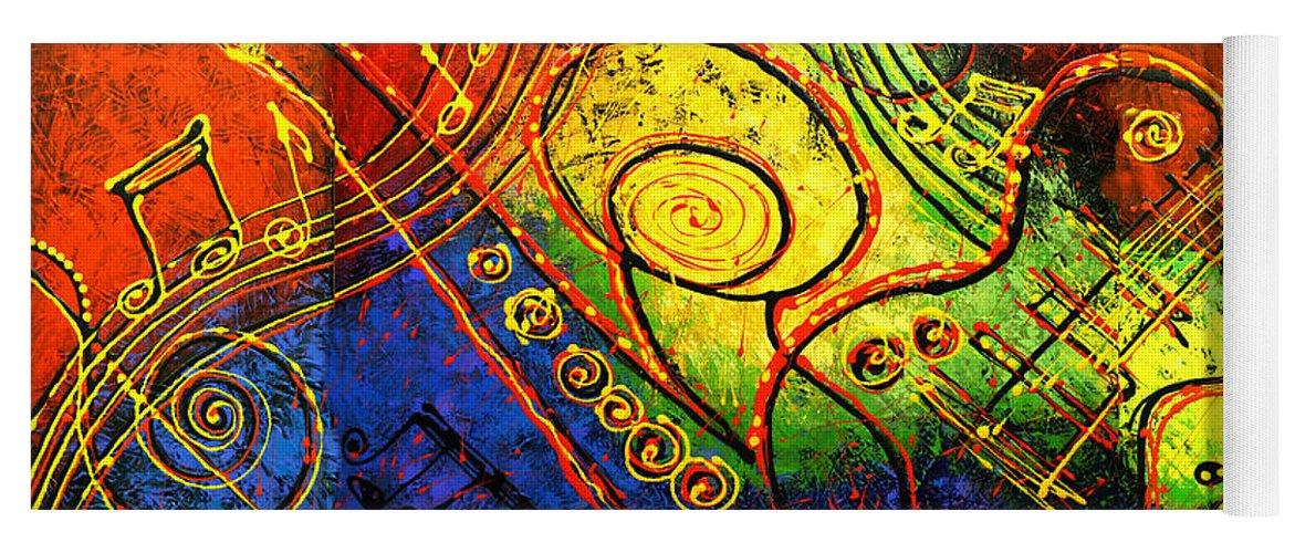 West Coast Jazz Yoga Mat featuring the painting Magic Guitar by Leon Zernitsky