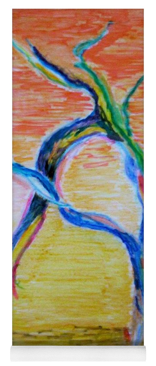 Abstract Painting Yoga Mat featuring the painting Magical Tree by Suzanne Udell Levinger