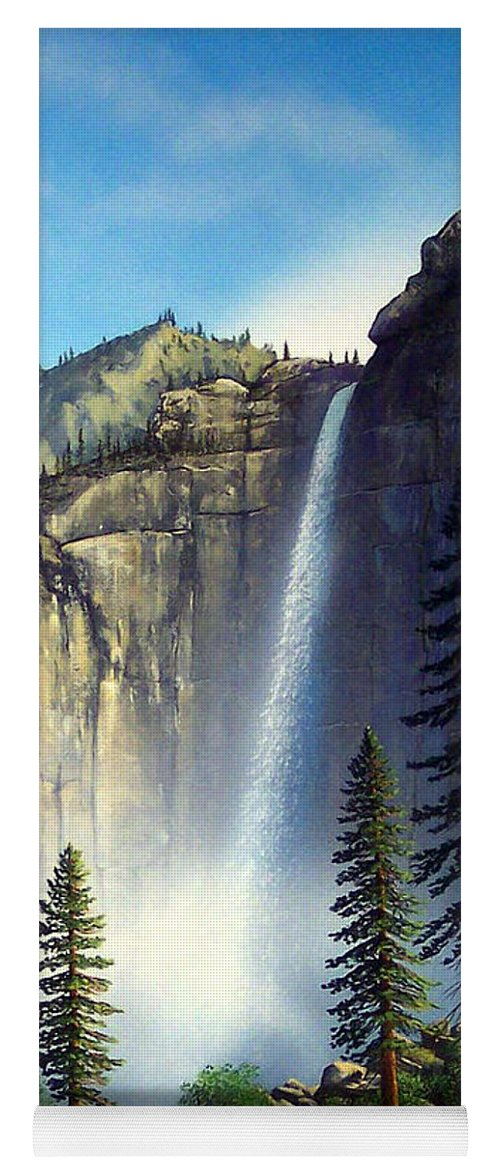Landscape Yoga Mat featuring the painting Majestic Falls by Frank Wilson