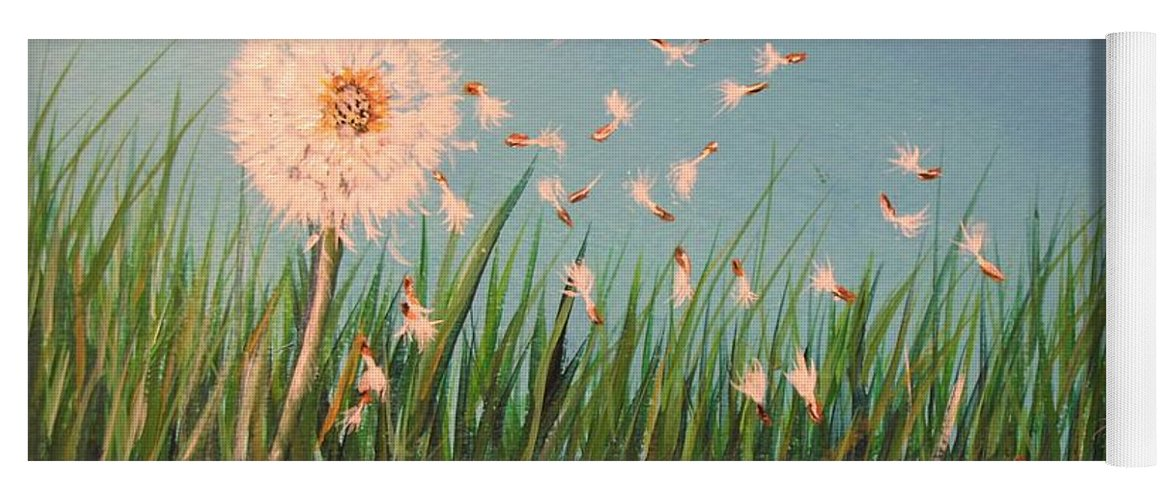 Meadow Yoga Mat featuring the painting Make A Wish by Lisa Cini