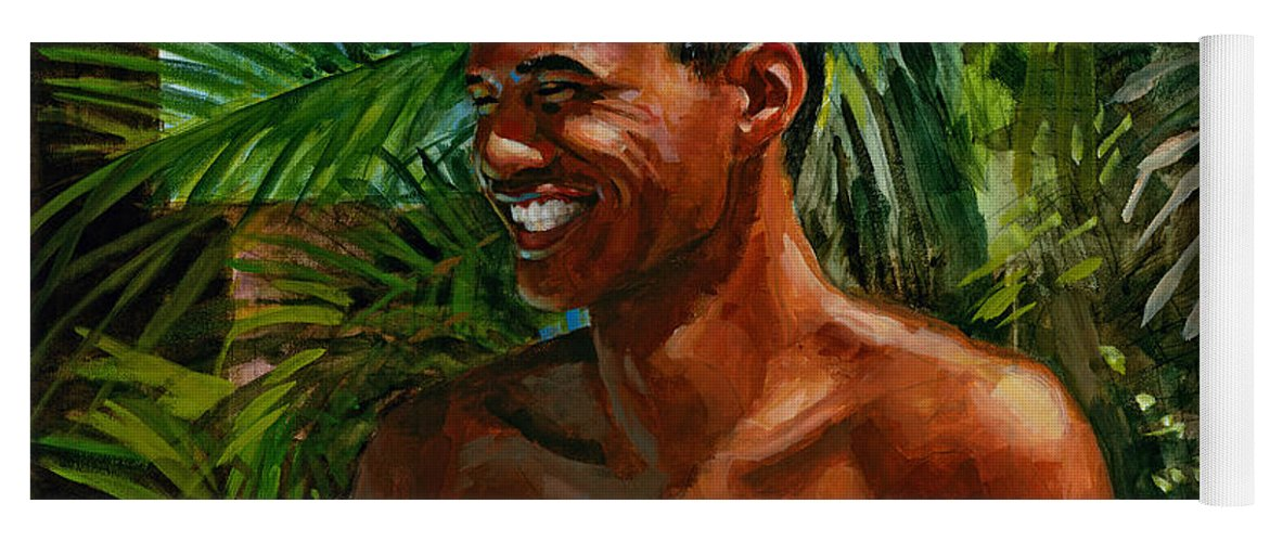 Hawaiian Yoga Mat featuring the painting Making Nohea Laugh by Douglas Simonson