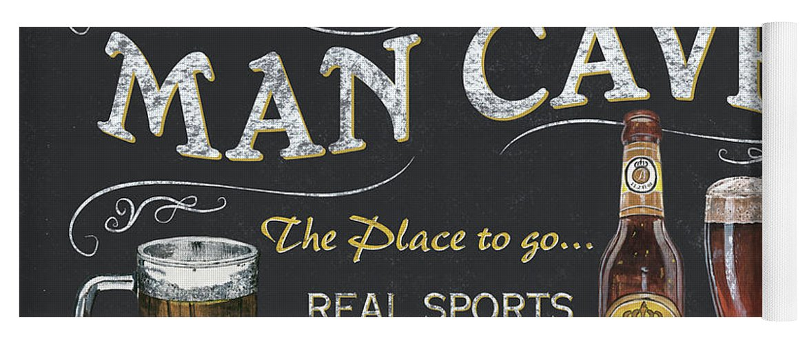 Sports Yoga Mat featuring the painting Man Cave Chalkboard Sign by Debbie DeWitt