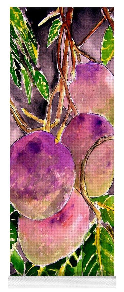 Mango Yoga Mat featuring the painting Mango tree fruit by Derek Mccrea