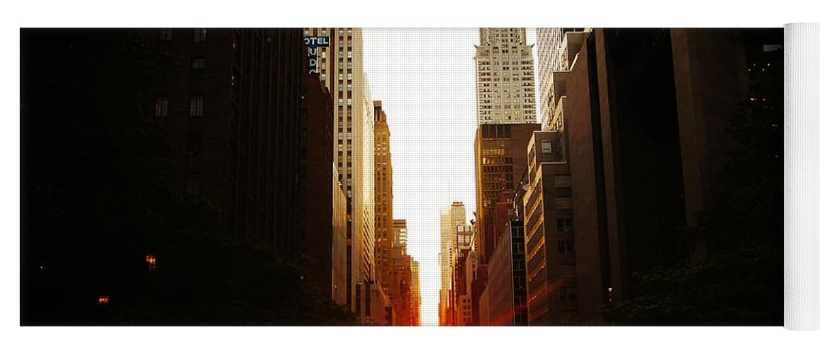 Sunset Yoga Mat featuring the photograph Manhattanhenge Sunset Over The Heart Of New York City by Vivienne Gucwa