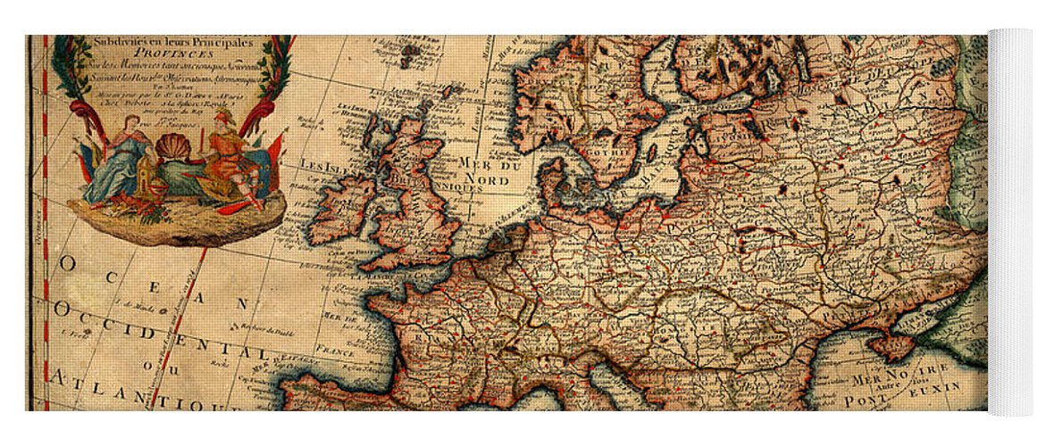 Map Of Europe 1700 Yoga Mat For Sale By Andrew Fare