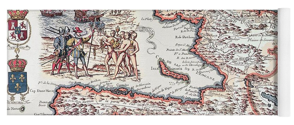 Maps Yoga Mat featuring the drawing Map Of The Island Of Haiti by French School