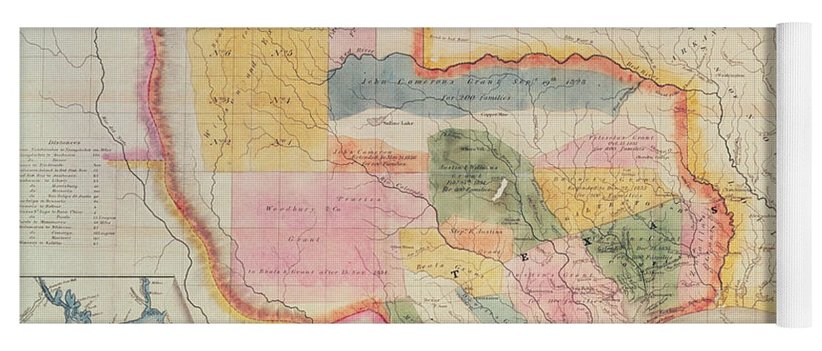 Map Of Texas 1835.Map Of The State Of Texas 1835 Yoga Mat