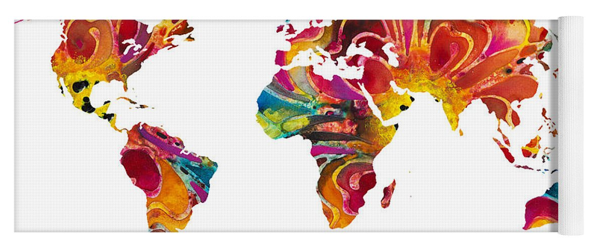 Map of the world 2 colorful abstract art yoga mat for sale by map yoga mat featuring the painting map of the world 2 colorful abstract art by gumiabroncs Gallery