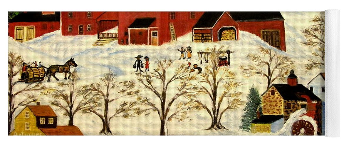 Folk Art Yoga Mat featuring the painting Maple Syrup Factory by Kenneth LePoidevin