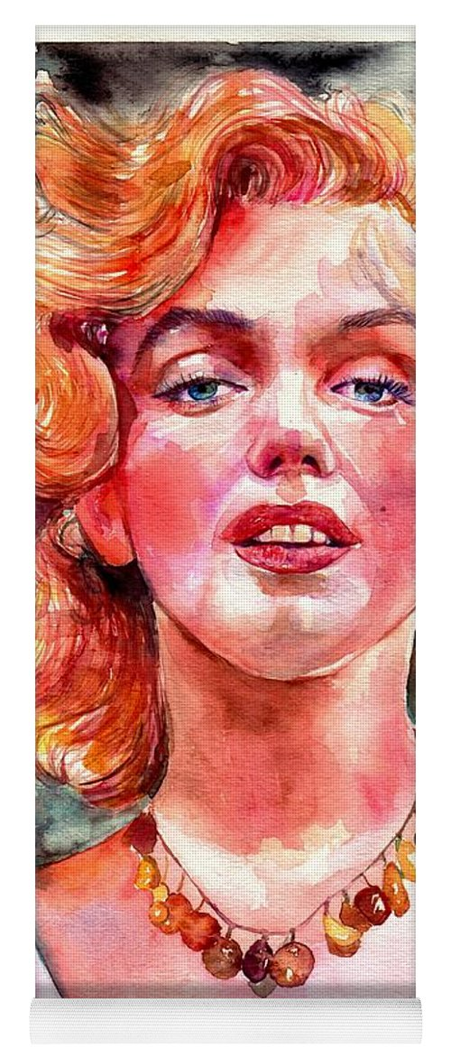 Marilyn Monroe Yoga Mat featuring the painting Marilyn Monroe Painting by Suzann Sines