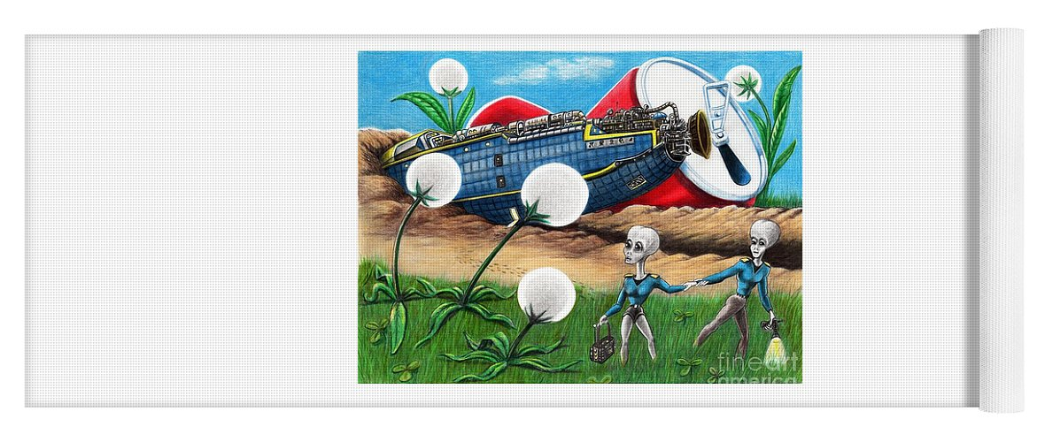 Pencil Yoga Mat featuring the drawing Martians Have Landed by Murphy Elliott