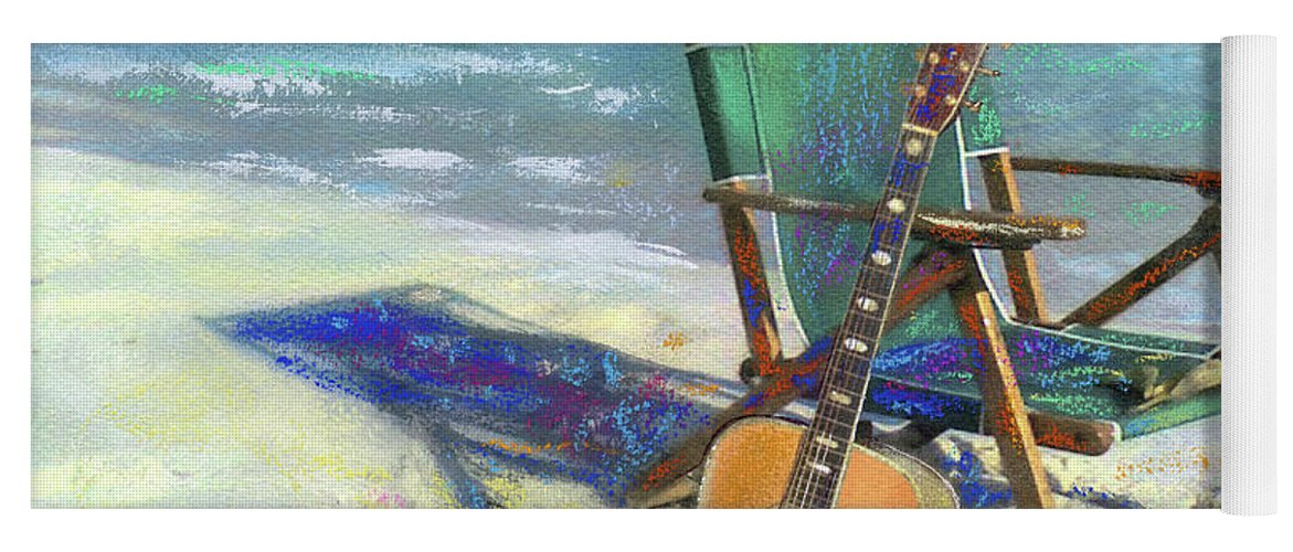 Guitar Yoga Mat featuring the painting Martin Goes to the Beach by Andrew King