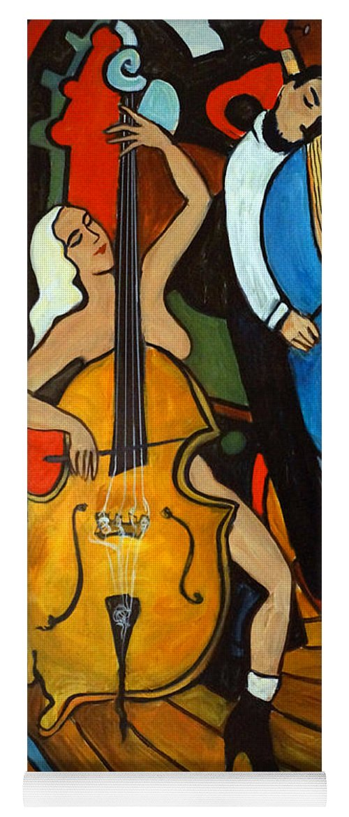 Musician Abstract Yoga Mat featuring the painting Melting Jazz by Valerie Vescovi