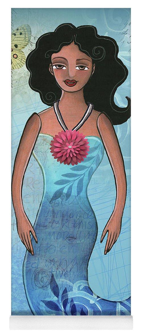 Mermaid Yoga Mat featuring the mixed media Mermaid Dream 1 by Elaine Jackson