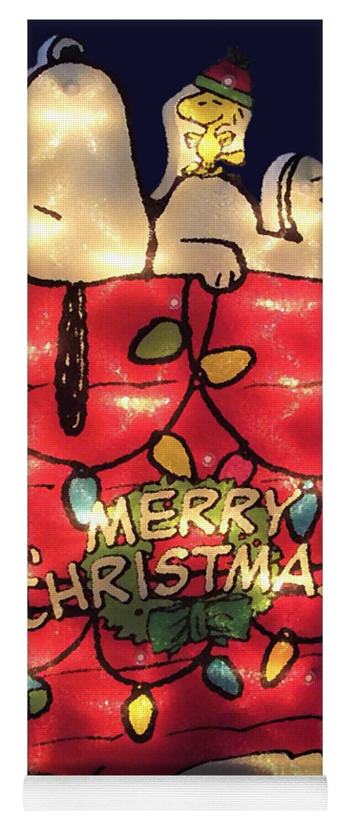snoopy yoga mat featuring the photograph merry christmas snoopy by dee winslow - Merry Christmas Snoopy