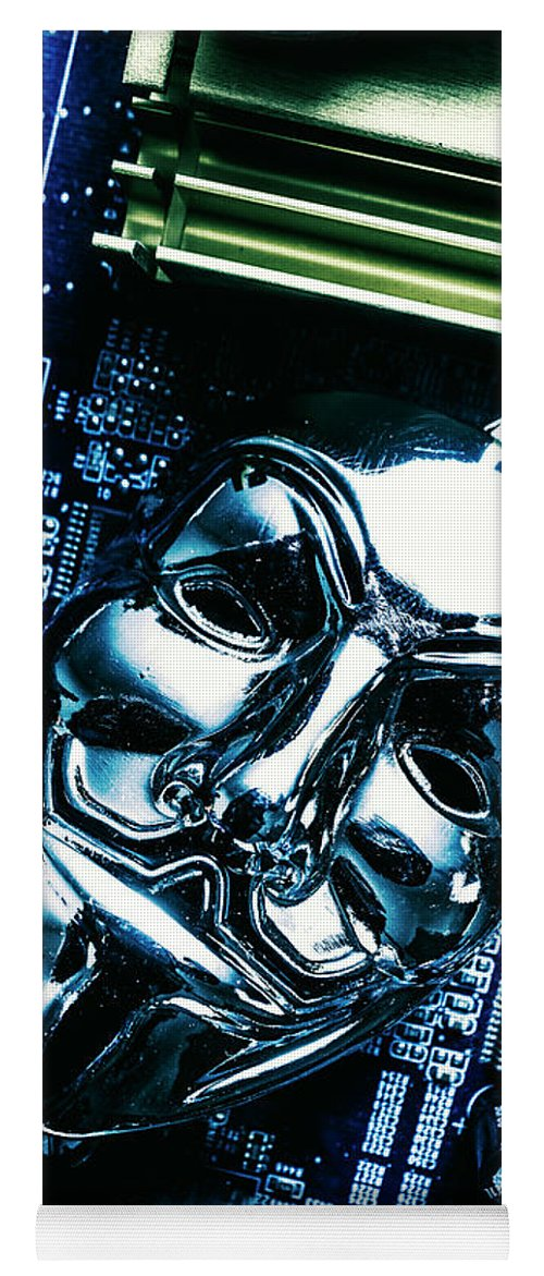 Cyber Yoga Mat featuring the photograph Metal Anonymous Mask On Motherboard by Jorgo Photography - Wall Art Gallery