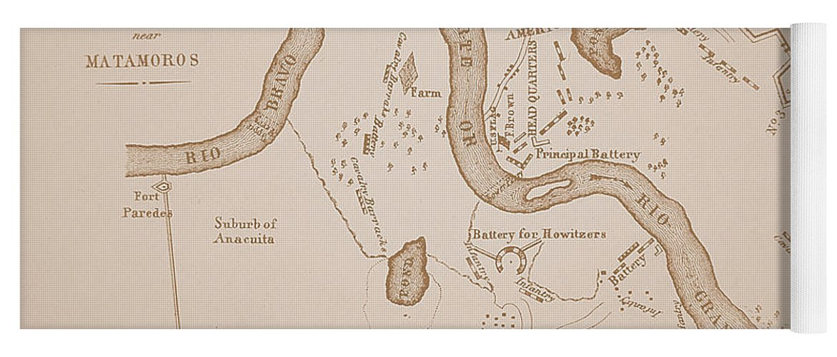 Mexican-american War Map Of Us Troops Near Rio Grande And Matamoros ...