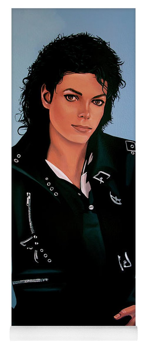Michael Jackson Yoga Mat featuring the painting Michael Jackson Bad by Paul Meijering