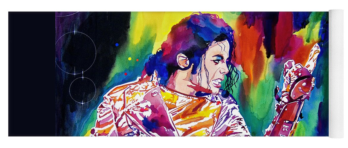 Michael Jackson Yoga Mat featuring the painting Michael Jackson Showstopper by David Lloyd Glover