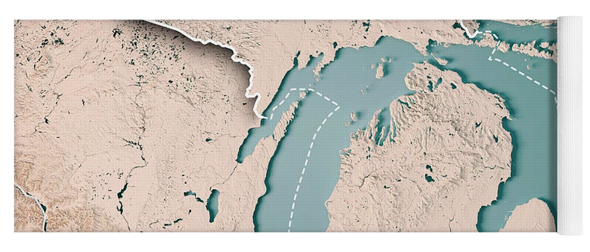 Michigan State Usa 3d Render Topographic Map Neutral Border Yoga Mat
