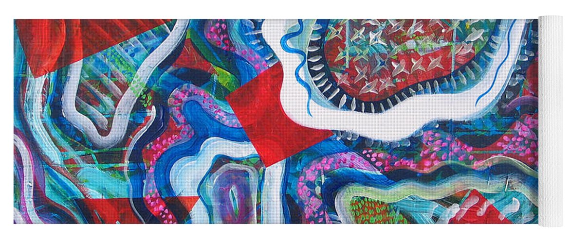 Abstract Yoga Mat featuring the painting Microcosm IX by Rollin Kocsis