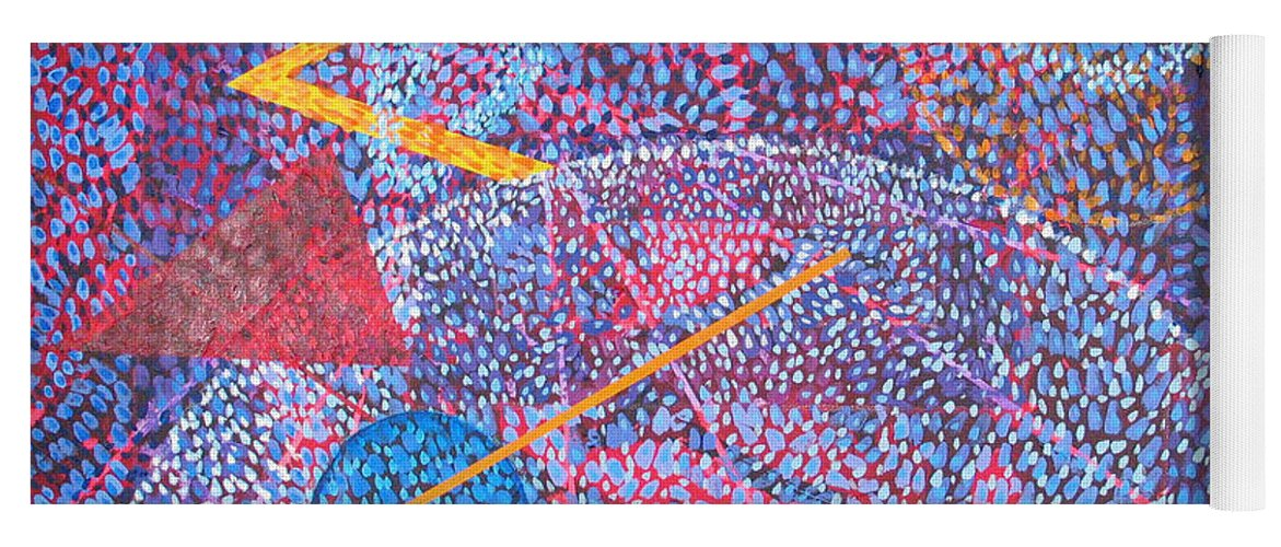 Abstract Yoga Mat featuring the painting Microcosm XV by Rollin Kocsis