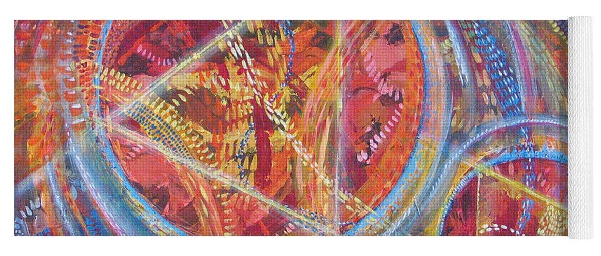 Geometric Yoga Mat featuring the painting Microcosm XVI by Rollin Kocsis