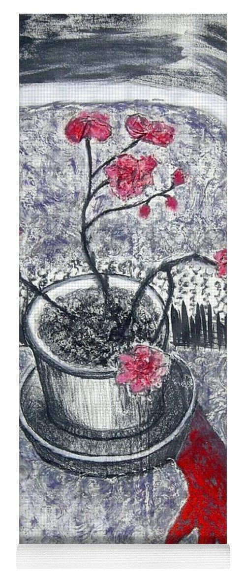 Chair Yoga Mat featuring the painting Midnight Geraniums by Minaz Jantz
