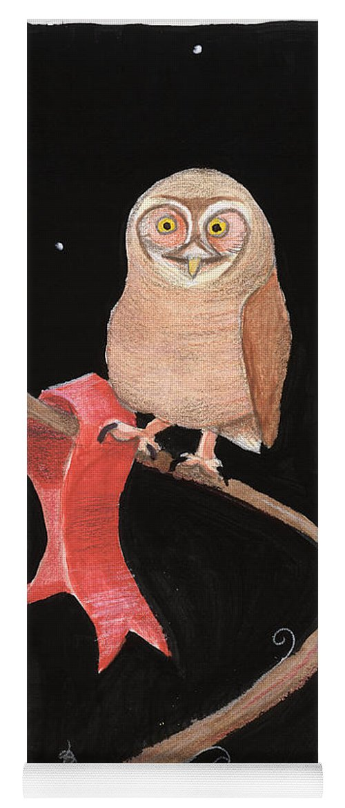 Owl Yoga Mat featuring the painting Midnight Owl by Lilibeth Andre