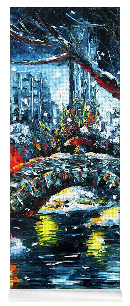 City Yoga Mat featuring the painting Midnight Stroll On The Gapstow by Nelson Ruger