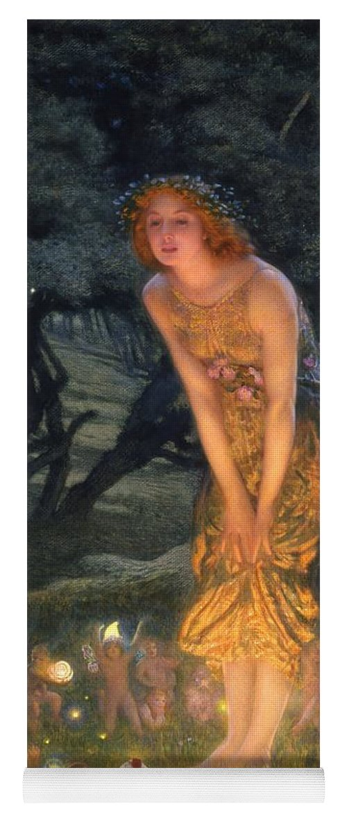 Pre Raphaelite Yoga Mat featuring the painting Midsummer Eve by Edward Robert Hughes