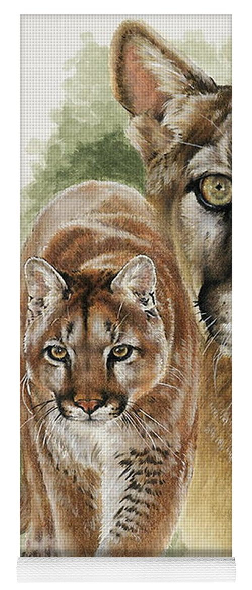 Cougar Yoga Mat featuring the mixed media Mighty by Barbara Keith