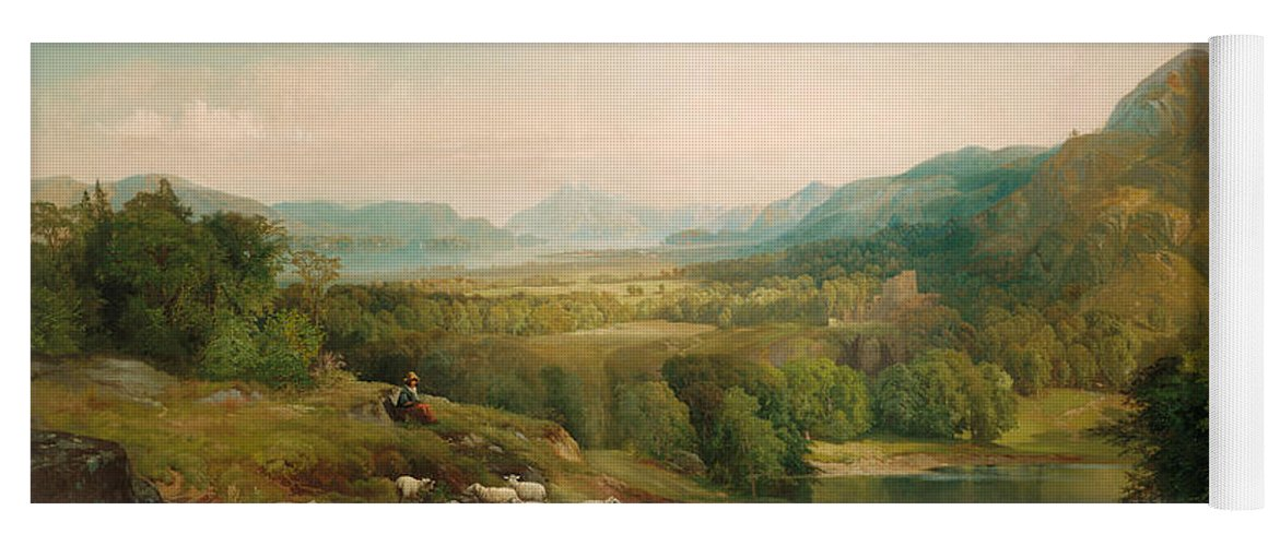 Thomas Moran Yoga Mat featuring the painting Minding The Flock by Thomas Moran