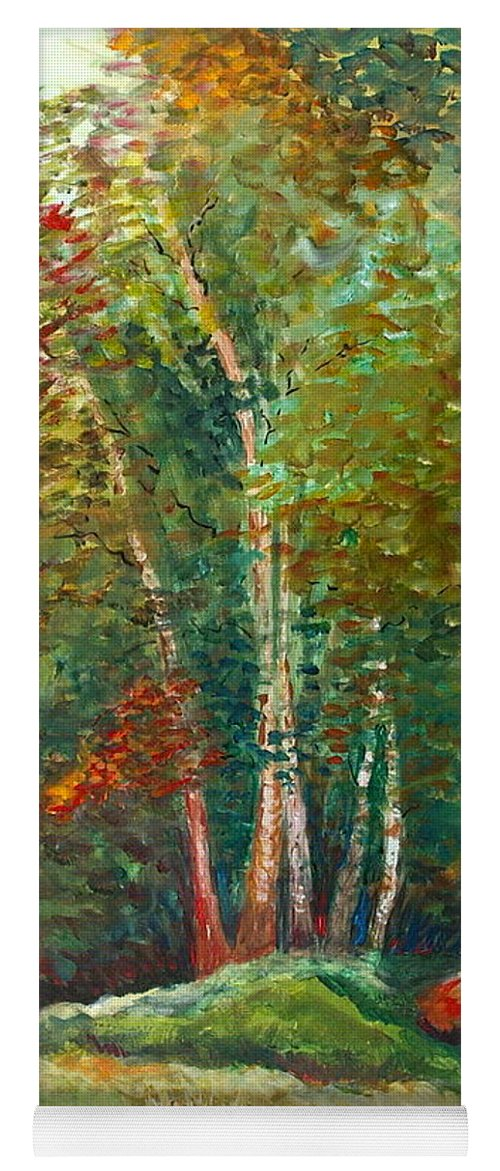 Landscape Yoga Mat featuring the painting Minnesota Quartet by Nadine Rippelmeyer