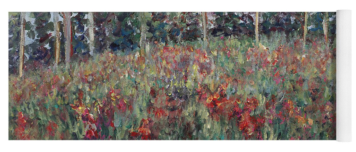 Landscape Yoga Mat featuring the painting Minnesota Wildflowers by Nadine Rippelmeyer