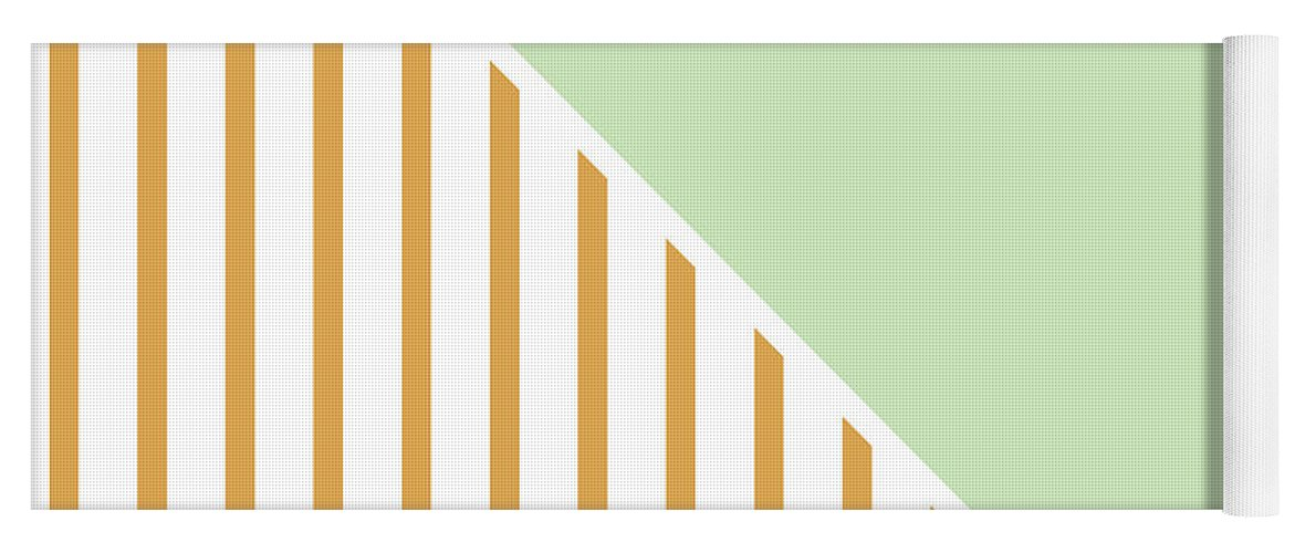 Mint Yoga Mat featuring the digital art Mint and Gold Geometric by Linda Woods