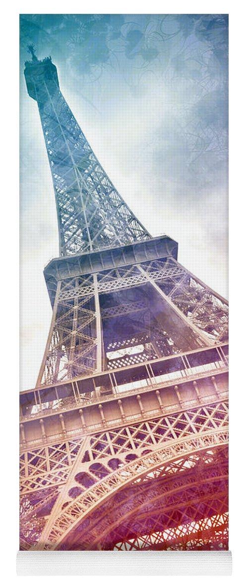 Orange Yoga Mat featuring the photograph Modern-art Eiffel Tower 21 by Melanie Viola