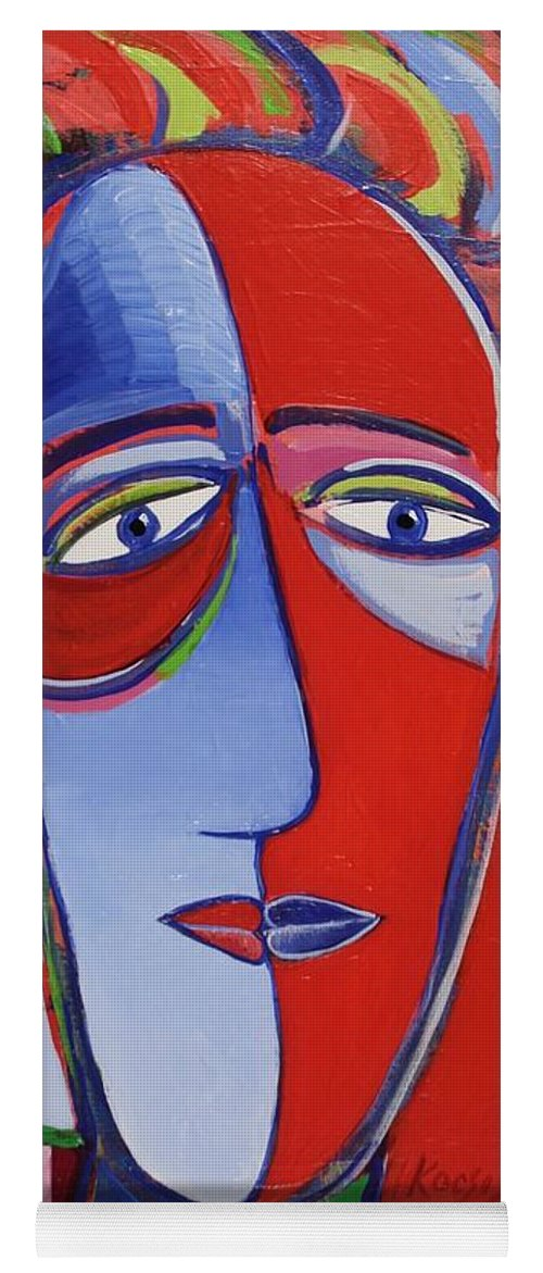 Faces Yoga Mat featuring the painting Mona and Me by Rollin Kocsis