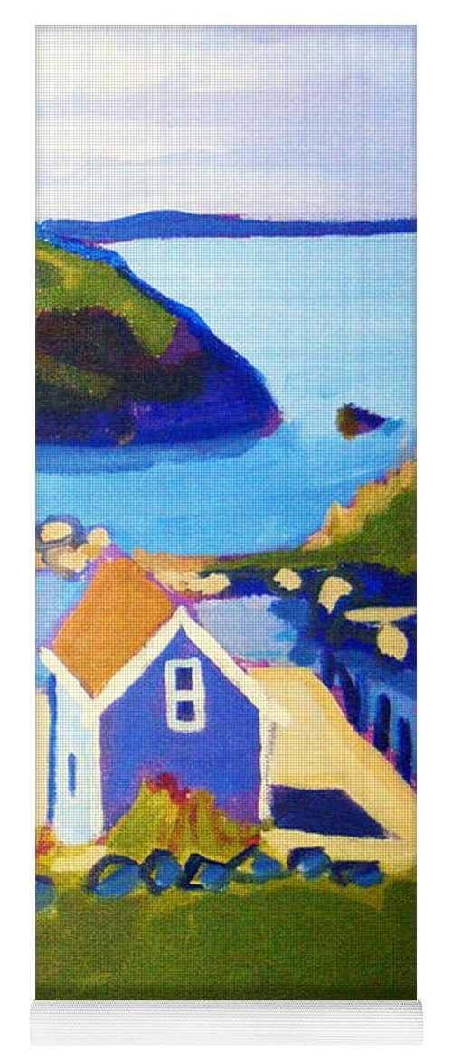 Seascape Yoga Mat featuring the painting Monhegan Harbor by Debra Bretton Robinson