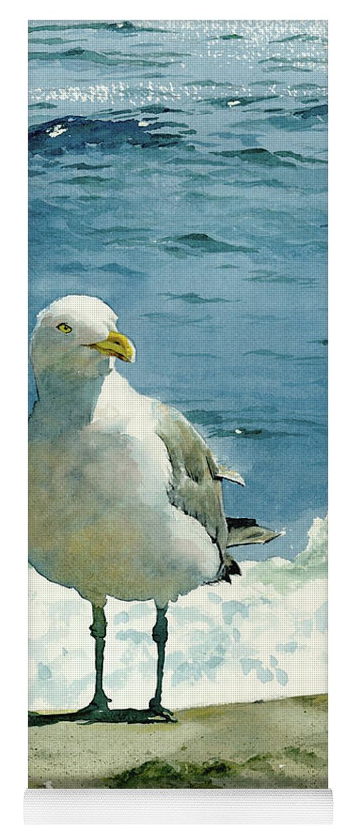 Seashore Print Yoga Mat featuring the painting Montauk Gull by Tom Hedderich