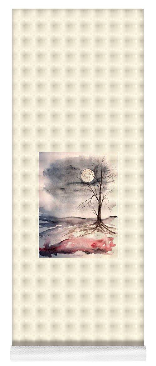 Moon Yoga Mat featuring the painting Moon Light by Derek Mccrea