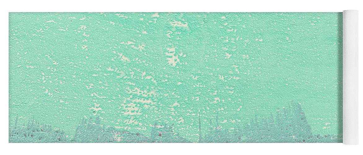 Abstract Yoga Mat featuring the painting Moon Over The Sea by Linda Woods