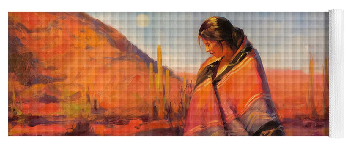 Southwest Yoga Mat featuring the painting Moon Rising by Steve Henderson