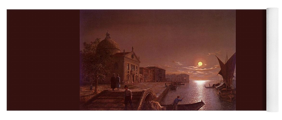 Palace Yoga Mat featuring the digital art Moonlight In Venice Henry Pether by Eloisa Mannion