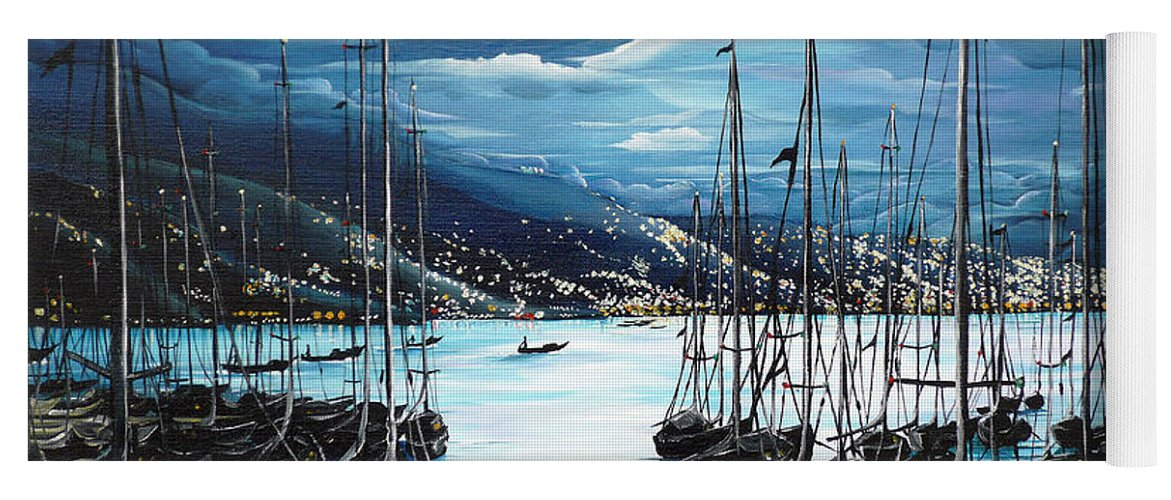 Ocean Painting  Caribbean Seascape Painting Moonlight Painting Yachts Painting Marina Moonlight Port Of Spain Trinidad And Tobago Painting Greeting Card Painting Yoga Mat featuring the painting Moonlight Over Port Of Spain by Karin Dawn Kelshall- Best