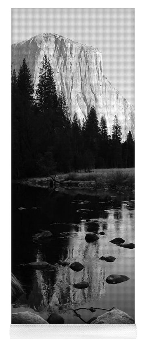 El Capitan Yoga Mat featuring the photograph Morning Sunlight On El Cap - Black And White by Heidi Smith